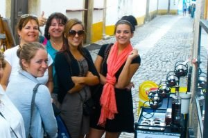 5 People having fun during a Lisbon private tour