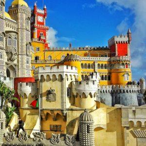 Pena Palace outside colorful walls tour