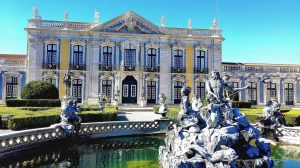 Queluz Palce Front of blue palace and a fountain